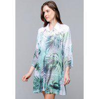 Vestido Chemise Evasê 101 Resort Wear Crepe Estampado Oncinha E Folhas Verdes