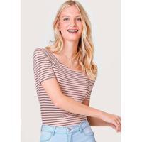 Blusa Básica Em Malha De Algodão Com Decote Canoa Feminina - Feminino-Rosa Claro