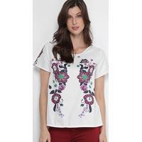 Blusa Jin Estampada Colorida Feminina - Feminino-Branco+Rosa