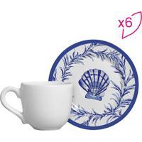Conjunto De Xícaras De Café Conchas- Branco & Azul- Scalla Cerâmica