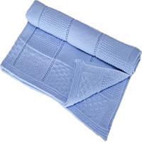 Manta Bebê Tricot Tricô Maternidade Recém Nascido Cod 1040.1 Azul