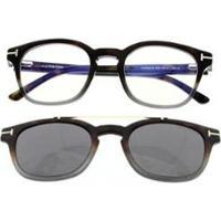 Armação Óculos De Grau Com Clip-On Tom Ford Masculina - Masculino-Marrom
