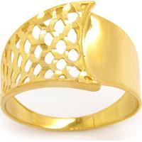 Anel Mc Ouro 18K Am. Chapa Larga Corte Diamantado E Vazado