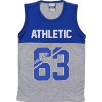 Camiseta Regata Infantil Para Menino - Azul/Cinza