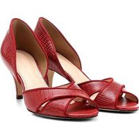 Peep Toe Couro Shoestock X Lizard - Feminino