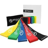 Kit 5 Mini Bands Bravus Sport Diferentes Resistências Funcional Pilates - Unissex