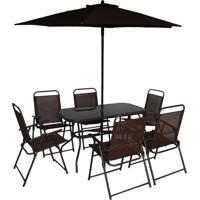 Conjunto De Mesa Com 6 Cadeiras E Ombrelone Para Área Externa Miami Marrom