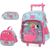 Kit Mochila Com Rodinhas Up4You Flamingo Com Lancheira E Estojo Feminina - Feminino-Pink