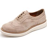 Sapato Social Top Franca Shoes Oxford Camurça Areia