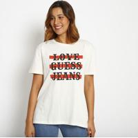 """Blusa """"Love Guessâ® Jeans""""- Off White & Vermelha- Gueguess"""