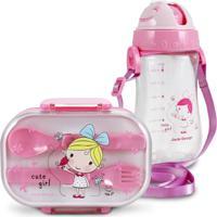 Conjunto Pote Para Lanche E Squeeze Infantil Menina Loira Jacki Design Pequeninos Rosa - Kanui
