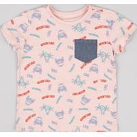 Camiseta Infantil Estampada Carros Com Bolso Jeans Manga Curta Rosê