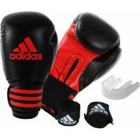 Kit Luva De Boxe Muay Thay Adidas Power 100 + Bandagem 2,55 M + Protetor Bucal - Unissex