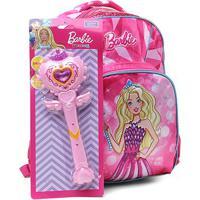 Mochila Escolar Infantil Luxcel Barbie Com Acessório - Feminino-Pink