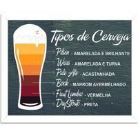 Quadro Decorativo Tipos De Cerveja Branco - Grande