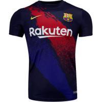 Camisa Pré-Jogo Barcelona 19/20 Nike - Masculina - Azul Escuro