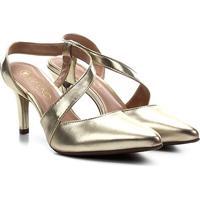 Scarpin Via Uno Salto Médio Chanel Metalizado - Feminino-Dourado