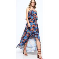 Vestido Tomara Que Caia Floral - Azul Marinho & Laranja