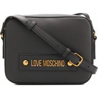 Love Moschino Bolsa Transversal Com Placa De Logo E Alça Ajustável - Preto
