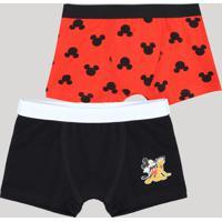 Kit De 2 Cuecas Boxer Infantis Mickey Multicor