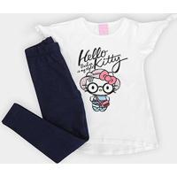 Conjunto Infantil Hello Kitty Blusa Cotton E Calca Malha Jeans - Feminino-Branco+Marinho