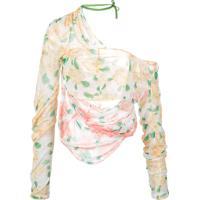Yuhan Wang Blusa Drapeado Com Estampa Floral - Branco