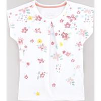 Blusa Infantil Estampada Floral Com Paetês Manga Curta Branca