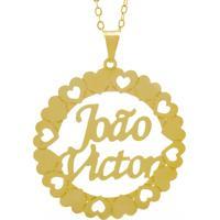 Gargantilha Horus Import Pingente Manuscrito João Victor Banho Ouro Amarelo