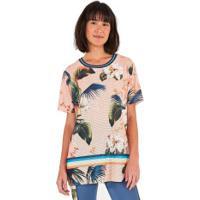 Camiseta Farm Rio Tela Flora Da Bahia - Feminina - Rosa Cla/Verde
