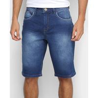 Bermuda Jeans Tks Reta Estonada Masculina - Masculino-Azul