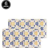 Conjunto De Pratos Oxford Porcelana Quartier Sevilha 6 Pçs Branco/Azul/Amarelo.