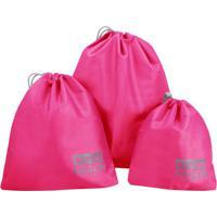 Kit Organizador De Malas- Pink & Cinza Escuro- 3Pã§S