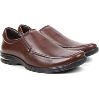Sapato Conforto Couro Democrata Air Fly - Masculino-Vermelho Escuro