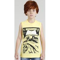 Regata Infantil Batman Quadrinhos Gola Careca Amarela