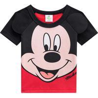 Camiseta Mickey Mouseâ®- Preta & Vermelha- Baby- Brandili