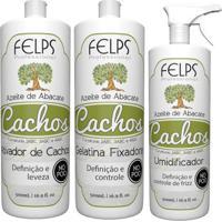 Kit Cachos Azeite De Abacate Felps Ativador 500Ml+Gelatina+Umidificador 500Ml