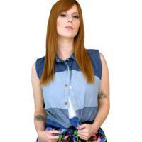 Colete Coleteria Jeans Patchwork Azul