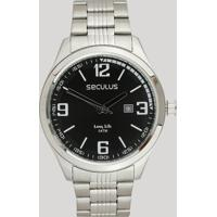 Relógio Analógico Seculus Masculino - 23645G0Svna1 Prateado - Único