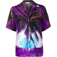 P.A.R.O.S.H. Camisa Com Estampa Tropical - Roxo