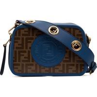 Fendi Brown And Blue Camera Case Logo Print Leather Cross Body Bag - Preto