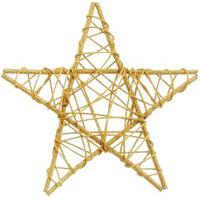 Estrela Rattan Decoraçáo Natal 20Cm Dourado