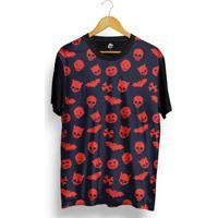 Camiseta Bsc Skull Halloween Full Print - Masculino-Preto