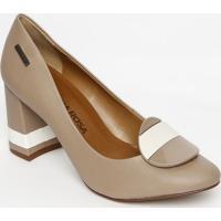Sapato Tradicional Com Aviamento- Bege & Branco- Salmorena Rosa