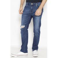 Jeans Alex Reto Com Bigodes - Azul - Colccicolcci