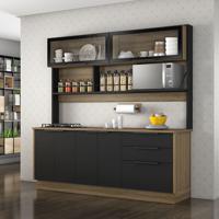 Cozinha Compacta Vitrum I 6 Pt 3 Gv Castanho E Preta