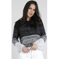Suéter Feminino Listrado Em Tricô Felpado Manga Longa Preto