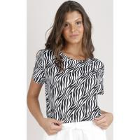 Blusa Feminina Estampada Animal Print Zebra Manga Curta Decote Redondo Off White