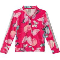 Jaqueta Pink Bomber Borboletas