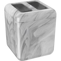 Porta Escova Cube Mármore Branco Coza