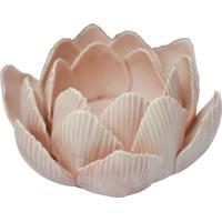 Porta Velas Flor De Lotus Cerâmica Rosa